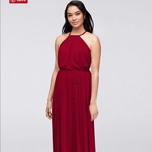 Soft Mesh Halter Bridesmaids Dress Apple Red!